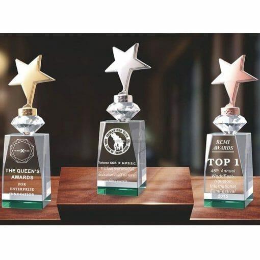 Crystal Awards - Unbeatable - Star - Green PG-098