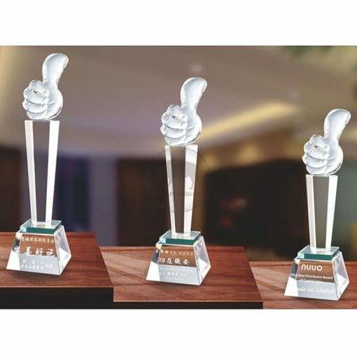 Crystal Awards - Hardworking - Thumb Up - Green PG-115