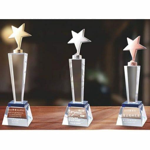 Crystal Awards - Hardworking - Star - Blue PG-135