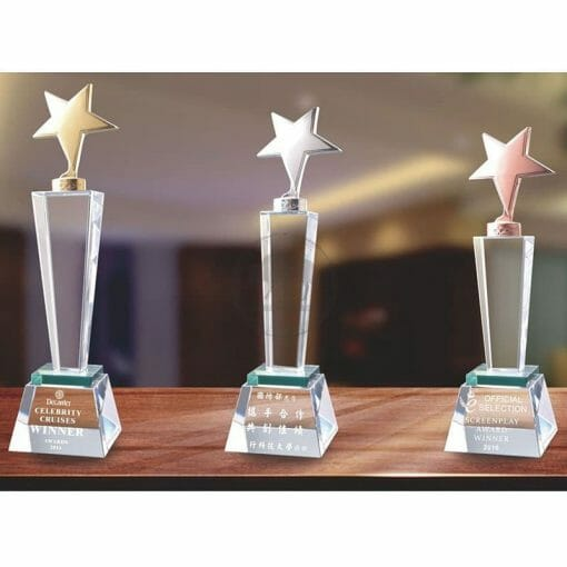 Crystal Awards - Hardworking - Star - Green PG-137